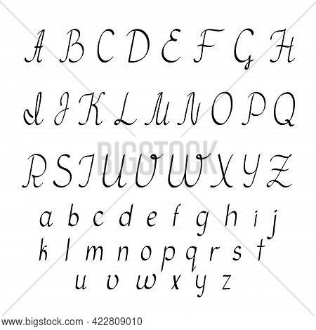 Small And Capital Hand Drawn Black Letters Of English Alphabet In Doodle Style Outline Vector Illust