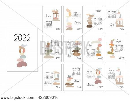 Calendar Template Year 2022 Zen Stones Abstract Vector Boho Illustration In Simple Minimalist Style,