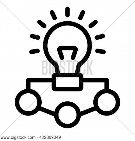 Brainstorming Idea Bulb Icon. Outline Brainstorming Idea Bulb Vector Icon For Web Design Isolated On
