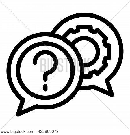 Brainstorming Gear Chat Icon. Outline Brainstorming Gear Chat Vector Icon For Web Design Isolated On