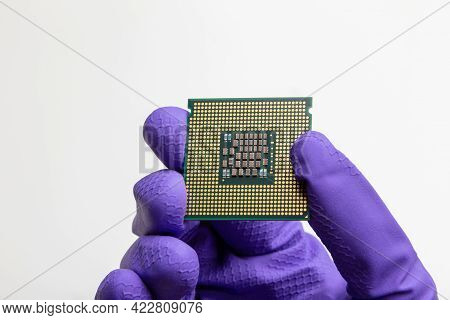 Production Of Central Processing Units, Gloved Hand Holds A Cpu