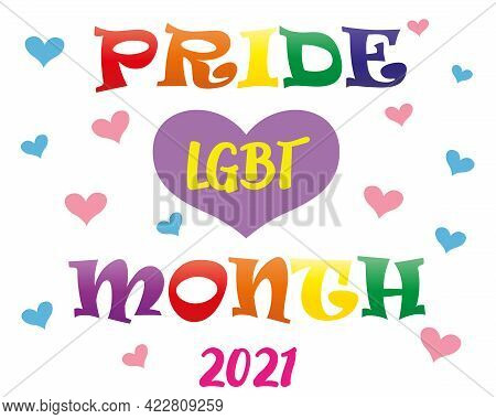Happy Pride Month Banner. Pride Day Lgbtq Concept, Lgbt Pride Month 2021 Poster Card Design. Human R