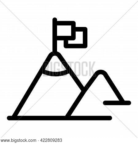 Brainstorming Mountain Icon. Outline Brainstorming Mountain Vector Icon For Web Design Isolated On W
