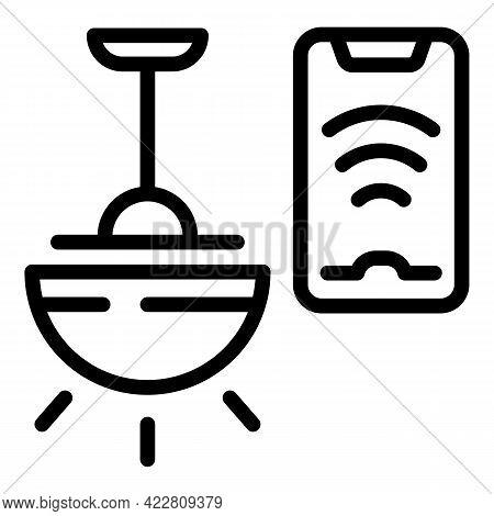 Home Smart Lightbulb Icon. Outline Home Smart Lightbulb Vector Icon For Web Design Isolated On White