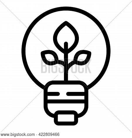 Eco Smart Lightbulb Icon. Outline Eco Smart Lightbulb Vector Icon For Web Design Isolated On White B
