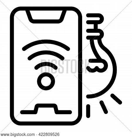 Smartphone Control Smart Lightbulb Icon. Outline Smartphone Control Smart Lightbulb Vector Icon For