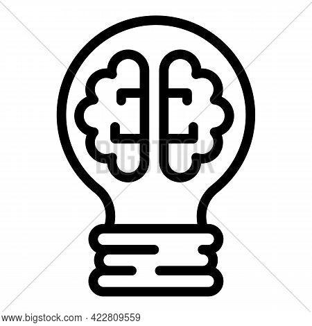 Bright Smart Lightbulb Icon. Outline Bright Smart Lightbulb Vector Icon For Web Design Isolated On W
