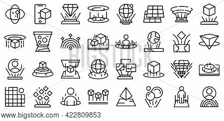 Hologram Projection Icon. Outline Hologram Projection Vector Icon For Web Design Isolated On White B