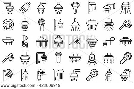 Shower Heads Icon. Outline Shower Heads Vector Icon For Web Design Isolated On White Background