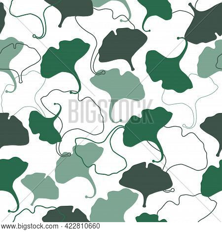 Natural Abstract Seamless Pattern. Ginkgo Biloba Leaves On A White Background. Tropical Herbal Ornam