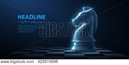 Knight. Abstract Vector 3d Chess Knight On Chessboard. Business Strategy, Marketing Solution, Strate