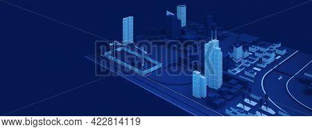 Part Of Primitive City With Building Site. 3d Rendering