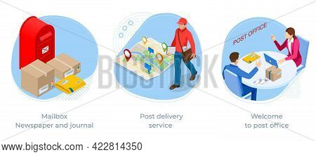 Isometric Concept Of Mailbox, Newspaper And Journal, Post Delivery Service And Welcome To Post Offic