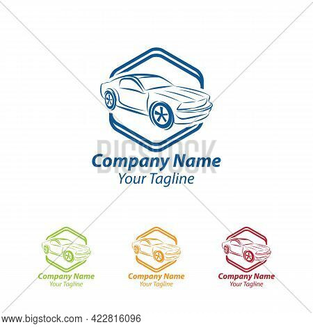 Car Logo In Simple Line Graphic Design Template Vector.eps10