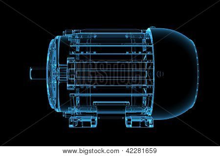 3D rendered blue xray transparent motor