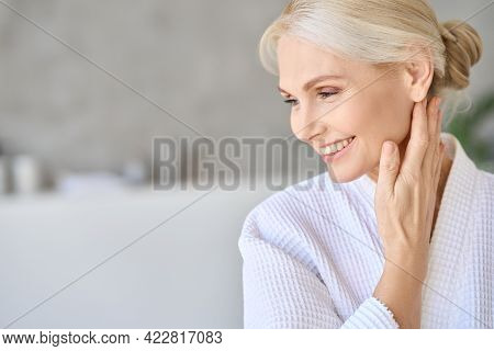 Headshot Of Happy Smiling Gorgeous Middle Aged Woman In White Bathrobe At Spa Salon Hotel Looking Aw
