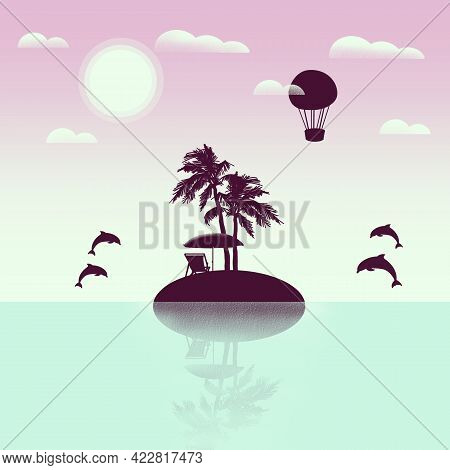 Uninhabited Island With Palm Trees, Umbrella And Lounger With Ocean View And Jumping Dolphins And Ai