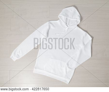 White Pullover Hoodie Mockup, Sweatshirt Long Sleeves Template For Your Design.