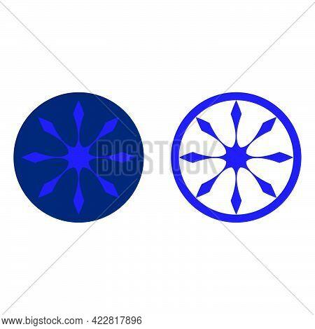 Abstract Steering Wheel Cardinal Direction Logo Template In Flat Design Monogram Illustration