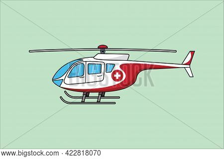Helicopter Icon. Rescue Helicopter Side View On A Isolated Green Background. Red Medical Evacuation