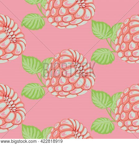 Seamless Vector Pattern Of Drawn Pink Raspberries With Green Leaves. Colorful Raspberry In Vintage S