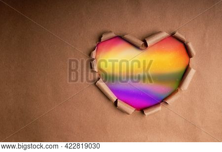 Gay, Homosexual, Lgbtqi Concept. Craft Paper As Rainbow Heart Shape Color. Month Of Pride Symbolic