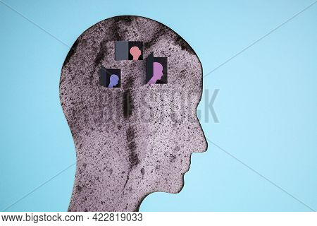 Mental Health Disorder Concept. Weak, Down Depressed Person. Negative Mood And Feeling. Layers Of Pa