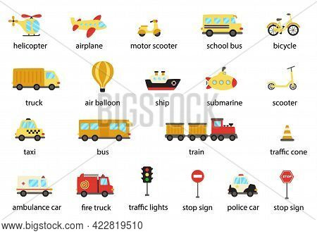 Set Of Named Transportation Means In English. Collection Of Vector Illustrations.