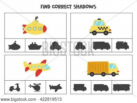 Find The Correct Shadows Of Cartoon Transportation Means. Clip Cards For Preschool Kids.