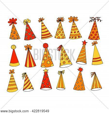 Party Hat Icon Set. Hand Drawn Doodle Style. Vector, Minimalism, Trending Color Yellow, Orange. Fest