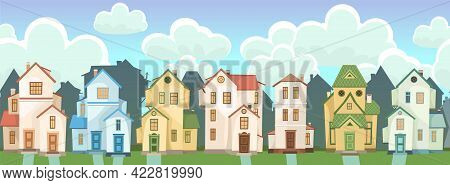 Street. Cartoon Houses With Clouds. Village Or Town. A Beautiful, Cozy Country House In A Traditiona