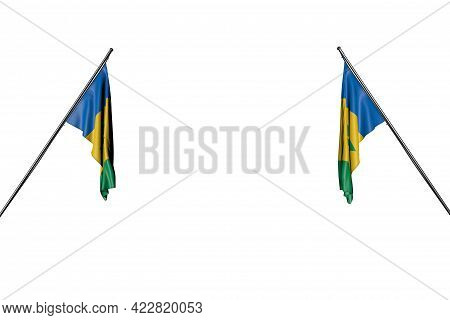 Pretty Two Saint Vincent And The Grenadines Flags Hanging On In Corner Poles From Two Sides Isolated