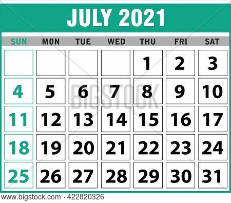2021 July Calendar Layout Template Isolated In White Background, Week Starts Sunday. Pocket Calendar