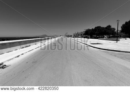 Deserted Road At Noon In The Island Of Favignana Trapani Sicily Italy