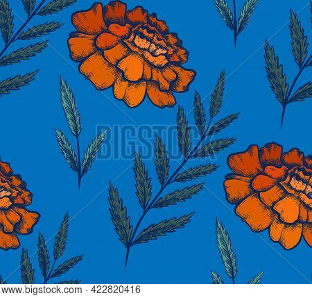 Seamless Pattern With Colorful Botanical Sketch Of Marigold Flowers And Branch With Leaves On Blue B