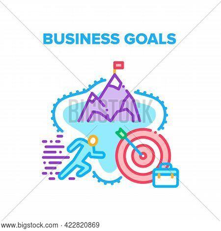 Business Goals Achievement Vector Icon Concept. Businessman Successful Achieving Business Goals, Ins
