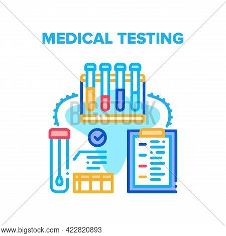 Medical Testing Laboratory Vector Icon Concept. Blood And Dna Medical Testing With Lab Equipment And