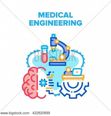 Medical Engineering Process Vector Icon Concept. Medical Engineering And Development, Researching Ch