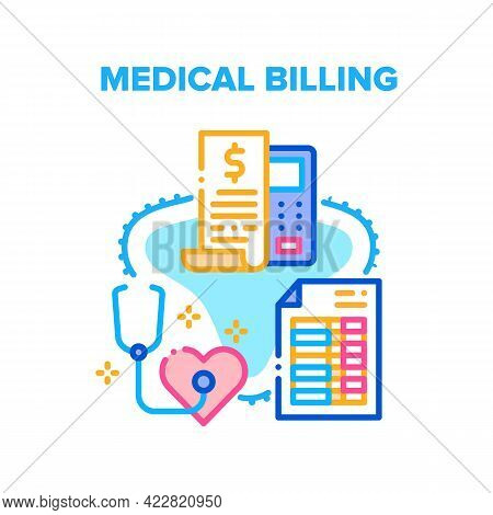 Medical Billing And Insurance Vector Icon Concept. Doctor Examination And Treatment Rate Calculating
