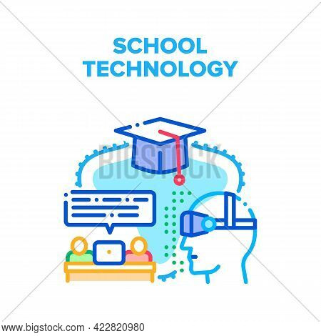 School Modern Technology Vector Icon Concept. Laptop And Vr Glasses For Pupils Remote Studying, Educ