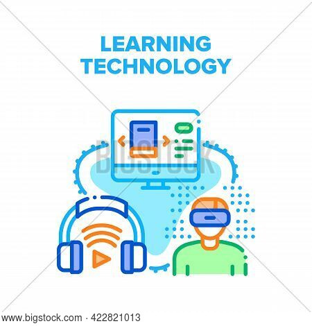Online Learning Technology Vector Icon Concept. Educational Electronic Book, Audiobook And Vr Glasse