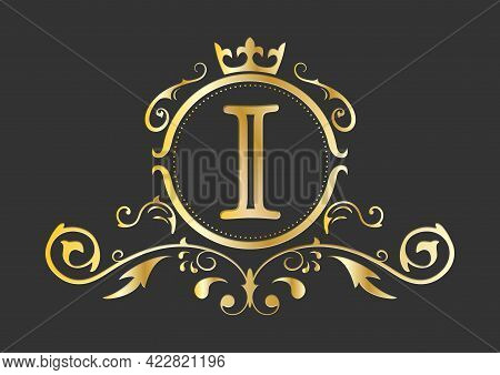 Golden Stylized Letter I Of The Latin Alphabet. Monogram Template With Ornament And Crown For Design