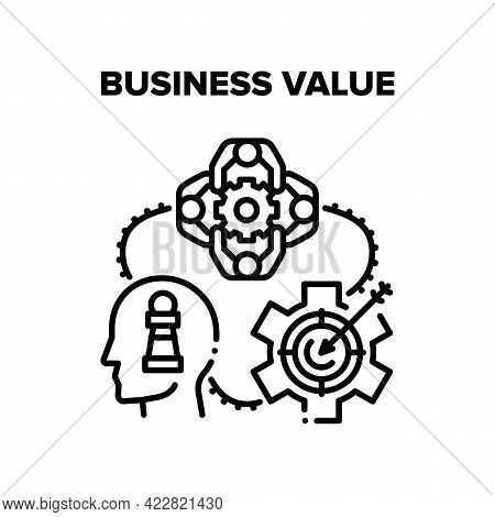 Business Value Increasing Vector Icon Concept. Businessman Thinking And Developing Strategy For Incr
