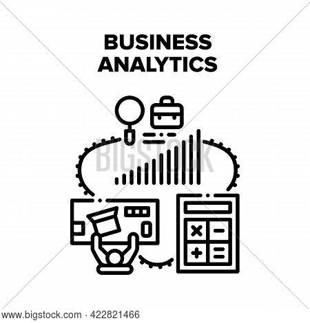 Business Analytics Market Vector Icon Concept. Business Analytics And Accounting, Accountant Make Fi