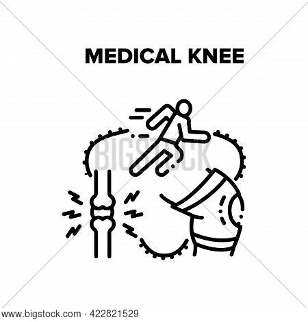 Medical Knee Trauma Treatment Vector Icon Concept. Medical Knee Sportsman Running Injury And Bandage