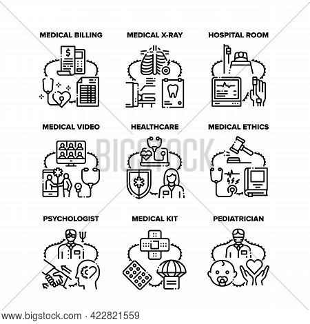 Medical Healthcare Set Icons Vector Illustrations. Medical Educational Video And Calling Communicati