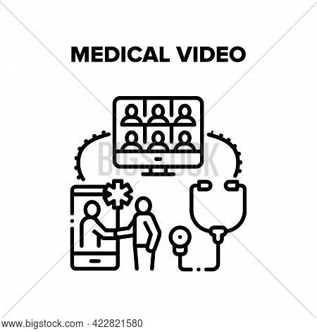 Medical Video Conference Vector Icon Concept. Medical Video Call Meeting And Online Remote Patient C