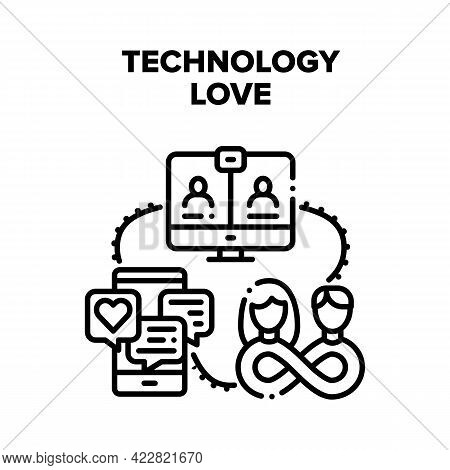 Technology Love Relation Vector Icon Concept. Chatting Lovely Messages On Smartphone Screen And Vide