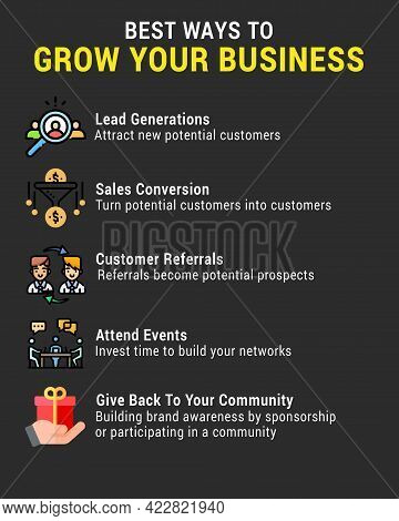 Best Way To Grow Your Business With Business Infographic Tips On Black Background With Golden Yellow
