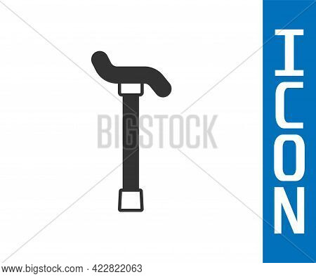 Grey Walking Stick Cane Icon Isolated On White Background. Vector